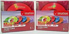 Imation Mini CD-R 8cm/80mm 202MB/ 23 Min Neon Colors 2 New sealed 5 packs