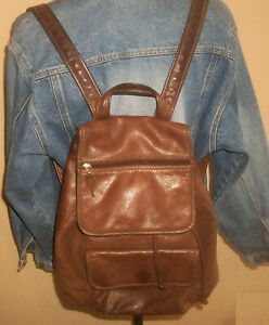 Fossil Classic 875082 Lrg Brown Leather Backpack w 2 Main Compartments+Pockets