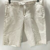 Banana Republic Shorts Bermuda Seersucker White Cotton Stretch Size 6
