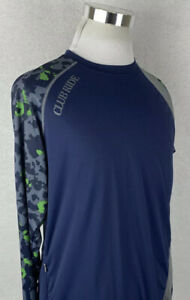Club Ride Men's Camo Blue Long Sleeve Athletic Shirt Zip Pocket Medium M