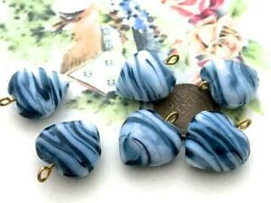 Vintage 18 x 21mm Marbled Grey/Blue & White Glass Heart Charms Embedded Loop 6