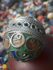 Moroccan Berber Tribal African Bead Vintage Silver & Multicolored Enamel