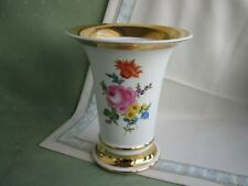 Wunderschöne Meissen Vase mit viel Blumen und Gold