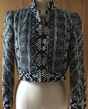 Nanette Lepore Black Embroidered Cropped Jacket NWOT Size 10 Retail $395