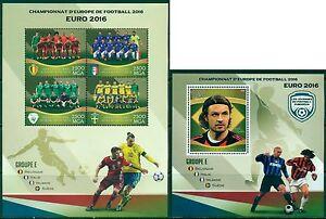 Football Soccer EURO 2016 Belgium Italy Ireland Sweden MNH stamp set 4val + ss