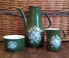 """13 Piece Green Coffee Set White Flowers Rare """"Carefree"""" Woods & Sons 1960's"""