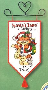 """DIMENSIONS Mini Banners """"Santa Claws"""" Christmas Hanger Counted Cross Stitch Kit"""