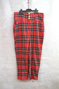 RIVER ISLAND RED BERLIN DOLL CHECKERED TROUSERS SIZE - 14 ##RUGCL60