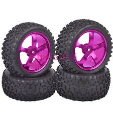 4PCS RC 1:10 On-Road Buggy Front&Rear Tyre Tires Metal Wheel Rim Purple M05P8