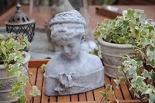 Schöne Dame Büste Frau Figur Skulptur Garten Deko  Shabby-Style Stein Grau TOP 1
