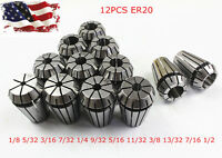 New 12Pcs ER20 Spring Collet Set For CNC Milling Lathe Tool Engraving Machine
