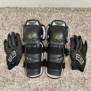 Fox Racing Motocross Kids Knee Shin Guards Gloves Black