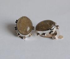 925 Silber Ohrclips mit Rutilquarz Edelsteinen, ohne Ohrloch tragbar, oval