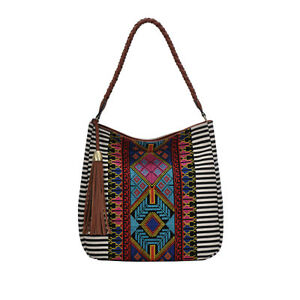 BGS5669 Aztec And Stripe Canvas With Tassels Hobo Bag With Single Handle
