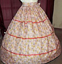 CIVIL WAR PIONEER REENACTMENT Gown Dress Red Floral Costume Skirt & Sash Set