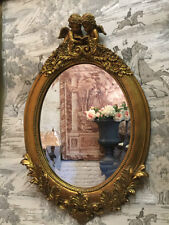 Antique Gold Oval Cherub & Acanthus Cupid French Style Bevelled Wall Mirror