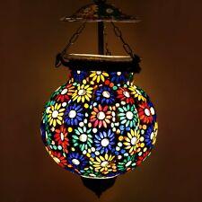 Mosaic Decorated Flower Design Glass Hanging Light Pendant Lamp