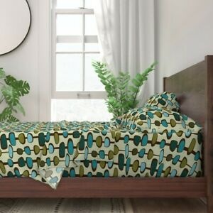 Mid Century Century Retro Geometric 100% Cotton Sateen Sheet Set by Roostery