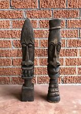 Vintage Pair African Wood Carved Figures - Handmade Angry Face Shelf Statues