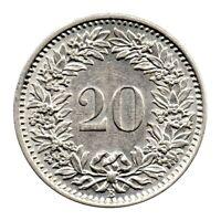 KM# 29a - 20 Rappen - Switzerland 1960 (EF)