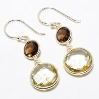 "Lemon Topaz, Smokey Topaz Gemstone 925 Sterling Silver Earring 1.58"" E-29"
