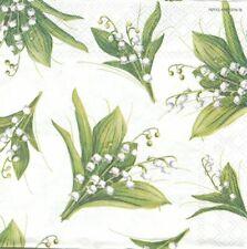 Lot de 2 Serviettes en papier Bouquets de Muguet Decoupage Collage Decopatch
