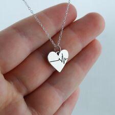 Heart w/ Heartbeat Charm Necklace 925 Sterling Silver Love Gift Polished EKG