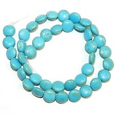 NG2759f Blue Turquoise 8mm Flat Puffed Round Coin Magnesite Gemstone Beads 15""