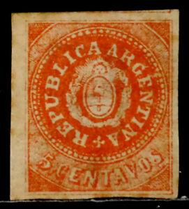 ARGENTINA: 1864 19TH CENTURY CLASSIC ERA STAMP UNUSED NO GUM SCT#7H CV$225 SOUND