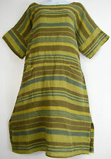 Knee Length Linen Striped Dresses for Women
