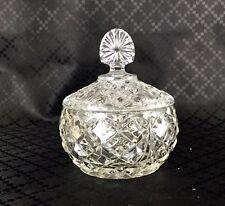 Art Deco Glass Crystal Trinket Box Vanity Lidded Pots Candy Nut Bowl