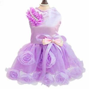 Dog Puppy Dress - Luxurious Satin Flower - Purple w Pearls & Bow S M L XL XXL