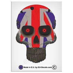"120mm-4.7"" Robohead skull UK Union Jack Flag red eyes Laminated Decal Sticker gb"