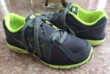 Nike Dual Fusion Run(GS) Kid's Gray Green Running Shoes Size 7Y #525590-005 EUC
