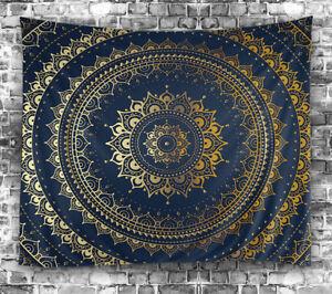 "Navy Blue Gold Mandala Design TAPESTRY 60x80"" Hanging Fabric Wall Decor Art"