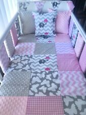 Handmade Cot Bedding Set Patchwork Quilt Bumpers Bunting Cushion - Grey & Pink