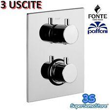 3S MISCELATORE TERMOSTATICO DOCCIA 3 USCITE PAFFONI LIQ519 PIASTRA RETTANGOLARE
