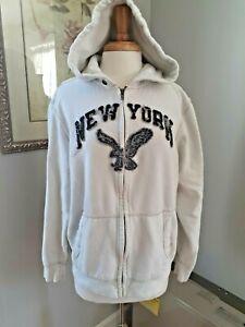 Men's American Eagle Vintage Style New York Zip Up Hoodie - Size L - Cream