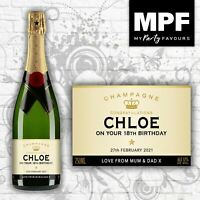 Personalised Birthday Champagne Bottle Label - Any Age - 4 Styles Available