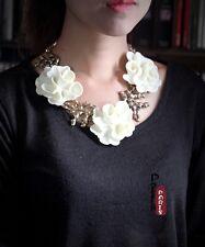 Costume Fashion Necklace Gold Short Big White Flower Branch Coral Retro OSC5