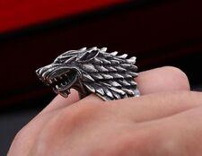 Edelstahl Ring Wolfskopf Biker Kelten Mittelalter Gothic GOT Wolf Tier (RE74)
