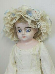 "Antique 1880s 20"" Wax Over Papier Mache? Doll w/Glass Eyes, Provenance,Needs TLC"