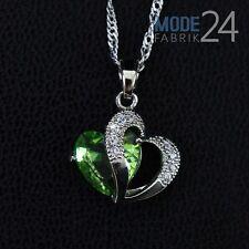 Damen Hals Kette 925 Sterling Silber pl Zirkonia Collier 0,1K Grün Kristall Herz