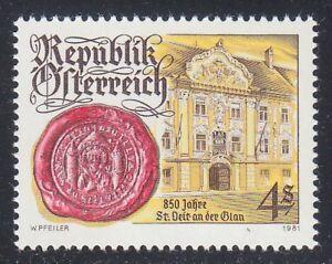 Austria 1981 MNH Mi 1675 Sc 1182 St.Veit an der Glan.Town Seal & Town Hall