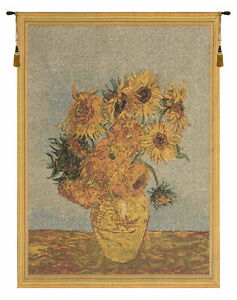 Sunflowers by Van Gogh I European Tapestry - Wall Art Hanging Decor - 23x17 Inch