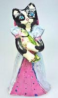 Ms Kitty  Dinner Bell Folk Art Handmade Pottery Fish Blue Eyed Baby Cat