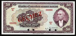 TURKEY 50 LIRA 1930 (1942) UNC SPECIMEN P-142s SERIAL E1 00000 INONU