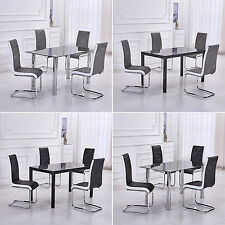 Black/Chrome Glass Dining Table Set and 4 Faux Leather Chairs Grey/Black Seats