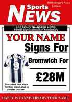 A5 Personalised West Bromwich Football Greeting Anniversary Card any name , age