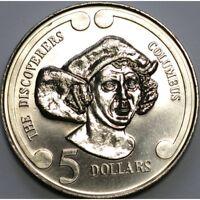 New Zealand  -1992- BU $5 UNC Coin -   Christopher Columbus